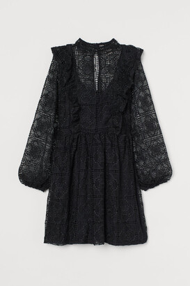 H&M Flounced lace dress - Black