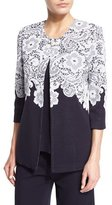 Misook 3/4-Sleeve Lace-Print Jacket, Navy/White, Plus Size