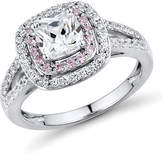 Fine Jewelry DiamonArt Pink and White Cubic Zirconia Sterling Silver Ring No Color Family