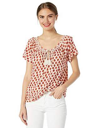 Lucky Brand Women's Printed Smocked TOP