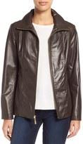 Ellen Tracy Stand Collar Genuine Leather Jacket