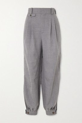 Loewe Leather-trimmed Pinstriped Wool And Silk-blend Tapered Pants - Gray