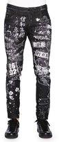 DSQUARED2 Graffiti-Print Skater Jeans, Black
