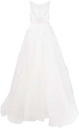 Loulou Embellished Sheer Top Bridal Dress