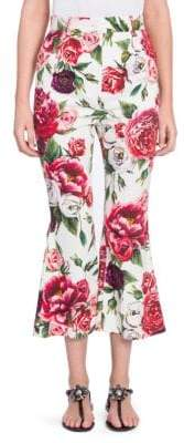 Dolce & Gabbana Crop Flare Stampa Peonie Pants