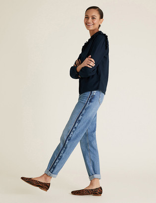 Marks and Spencer Boyfriend Side Trim Ankle Grazer Jeans