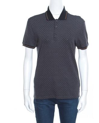 Gucci Grey Cotton Jacquard Striped Web Trim Polo T-Shirt XS