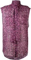 Faith Connexion neck tie leopard shirt - women - Silk - S