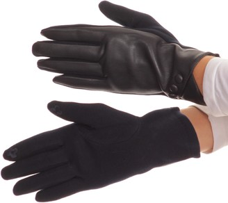 Sakkas 16165 - Pamb Faux Leather Heather Knit Button Front Warm Winter Touch Screen Gloves - Burgundy - L/XL