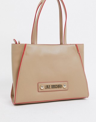 Love Moschino large tote with scarf tie in beige