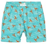 Benetton Aqua Blue Lobster Print Jersey Shorts