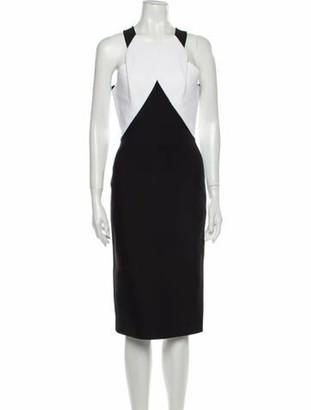 Roland Mouret Colorblock Pattern Midi Length Dress Black
