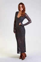 Nightcap Clothing Long Sleeve Deep V Victorian Gown in Ash