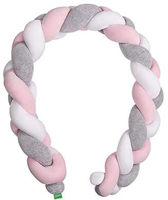 Camilla And Marc LULANDO COT BUMPER BRAID - BRAID WELUR 200 cm and 300 cm long, springy anti-allergenic, anti-allergenic, certified by Oeko-Tex, for the kid's room (Size: 200 cm, Colour: White / Grey / Pink)