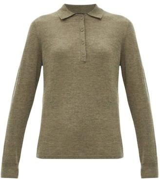 Nili Lotan Cashmere Long-sleeved Polo Shirt - Khaki
