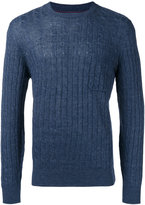 Brunello Cucinelli ribbed detail jumper - men - Cotton/Linen/Flax - 50