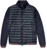 Moncler Loopback Cotton-jersey And Quilted Shell Down Bomber Jacket - Navy