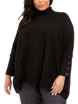 Anne Klein Plus Size Button-Sleeve Turtleneck Sweater