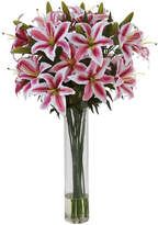 Asstd National Brand Nearly Natural Rubrum Lily Floral Arrangement with Cylinder Vase