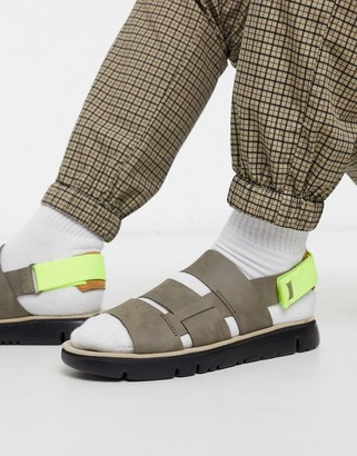 Camper triple strap sandals in grey with neon trim