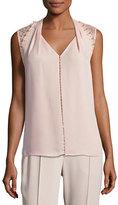 Elie Tahari Barbara Lace-Trim Silk Blouse w/ Pearly Embellishments, Pink