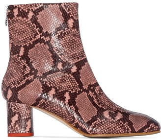 AEYDĒ Mel snake-effect 60mm ankle boots