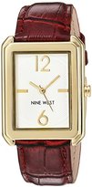Nine West Women's Quartz Metal and Leather Dress Watch, Color:Red (Model: NW/1946WTBY)
