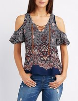 Charlotte Russe Printed Lace-Up Cold Shoulder Top