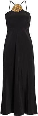 Rixo Lana Silk Halter Midi Dress