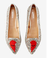 Express broken heart embroidered patch flats