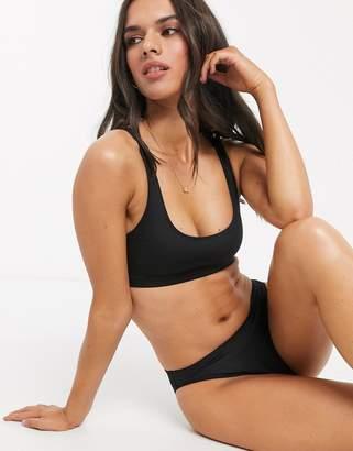 Monki scoop neck mix & match bikini top in black