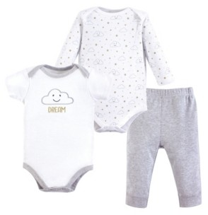 Hudson Baby Baby Vision 0-24 Months Unisex Bodysuit and Pant, 3-Piece Set