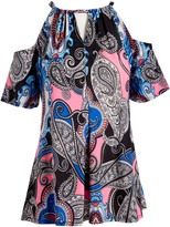 Glam Blue & Pink Paisley Floral Cutout Tunic