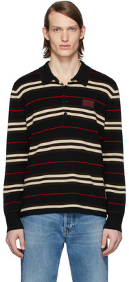 Burberry Black Icon Stripe Long Sleeve Polo