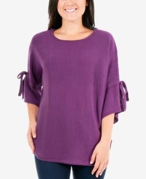NY Collection Round-Hem Tie-Sleeve Sweater