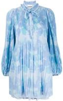 Ganni Printed Georgette Babydoll Dress
