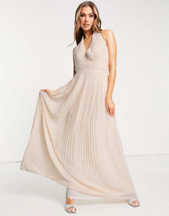 TFNC Bridesmaid halterneck pleated maxi dress in blush