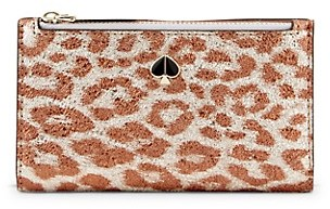 Kate Spade Metallic Leopard-Print Small Slim Bifold Wallet