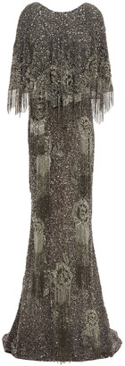 Marchesa Cape-effect Velvet-trimmed Embellished Tulle Gown