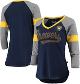 Unbranded Women's Touch Navy/Gray Milwaukee Brewers Fan for Life Raglan V-Neck 3/4-Sleeve T-Shirt
