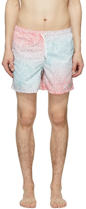 Bather Blue and Pink Gradient Cheetah Swim Shorts
