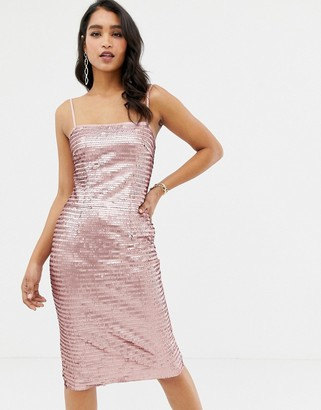 Forever New allover sequin cami midi dress in pink