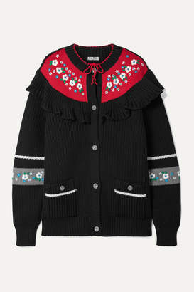 Miu Miu Ruffled Embroidered Wool Cardigan - Black