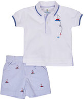 Florence Eiseman Sailboat Polo Shirt w/ Seersucker Shorts, Blue, Size 12-24 Months