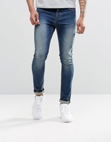 Asos Super Skinny Jeans In 12.5oz Tinted Blue