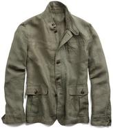 Todd Snyder Coated Linen Safari Jacket in Olive