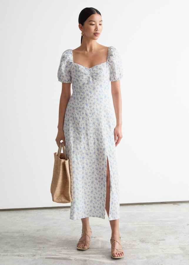 Puff Sleeve Linen Midi Dress