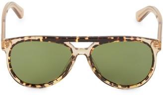 Salvatore Ferragamo Hi-Tech 57MM Brow Bar Aviator Sunglasses