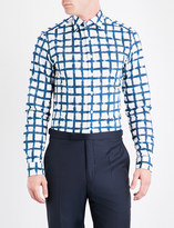 Duchamp Hand-painted checked slim-fit cotton shirt