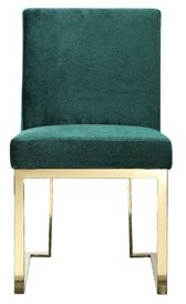 Dexter Willa Arlo Interiors Upholstered Dining Chair Willa Arlo Interiors Upholstery Color: Velvet Green, Leg Color: Gold